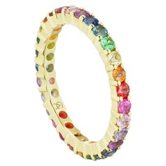 14 Karat Yellow Gold Multi Stone Rainbow Stacking Band