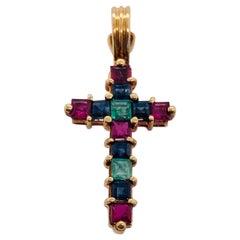 14 Karat Yellow Gold Multicolored Cushion Cut Semi Precious Stones Cross Pendant