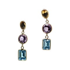 14 Karat Yellow Gold Multicolored Gemstone Dangle Earrings