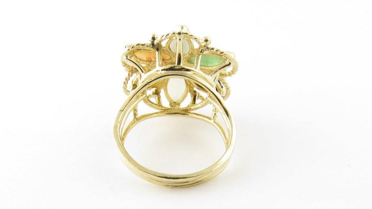 Women's 14 Karat Yellow Gold Multicolored Jade Ring For Sale