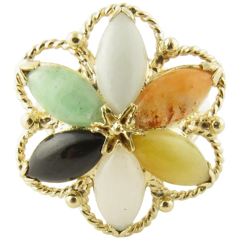 14 Karat Yellow Gold Multicolored Jade Ring For Sale