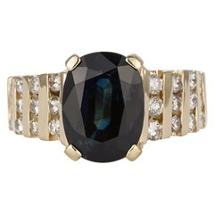14 Karat Yellow Gold Natural Oval Sapphire and Diamond Cocktail Fashion Ring