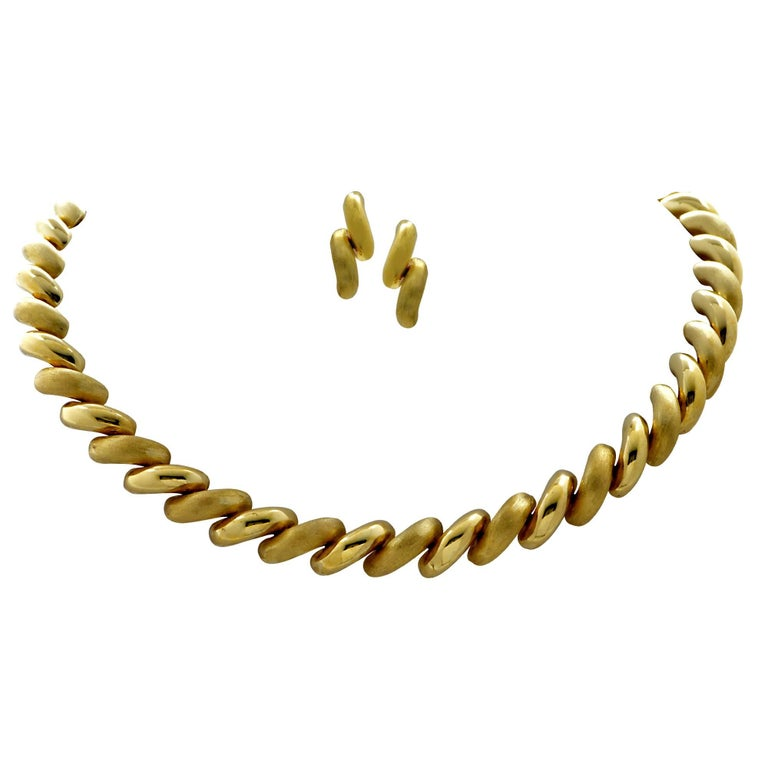 14 Karat Yellow Gold Necklace and Earring Set