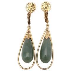 14 Karat Yellow Gold Nephrite Jade Long Drop Dangle Earrings Asian