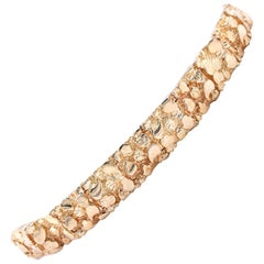 14 Karat Yellow Gold Nugget Link Bracelet