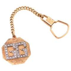 14 Karat Yellow Gold Octagon Key Chain with Diamond Initials GG
