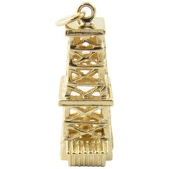 14 Karat Yellow Gold Oil Rig Tower Charm Pendant