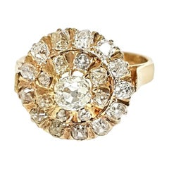 14 Karat Yellow Gold Old European Cut Diamond Cluster Ring