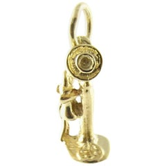 14 Karat Yellow Gold Old-Fashioned Candlestick Telephone Charm