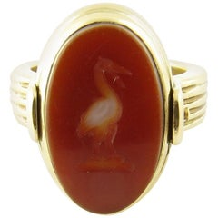 14 Karat Yellow Gold Onyx and Carnelian Flip Ring