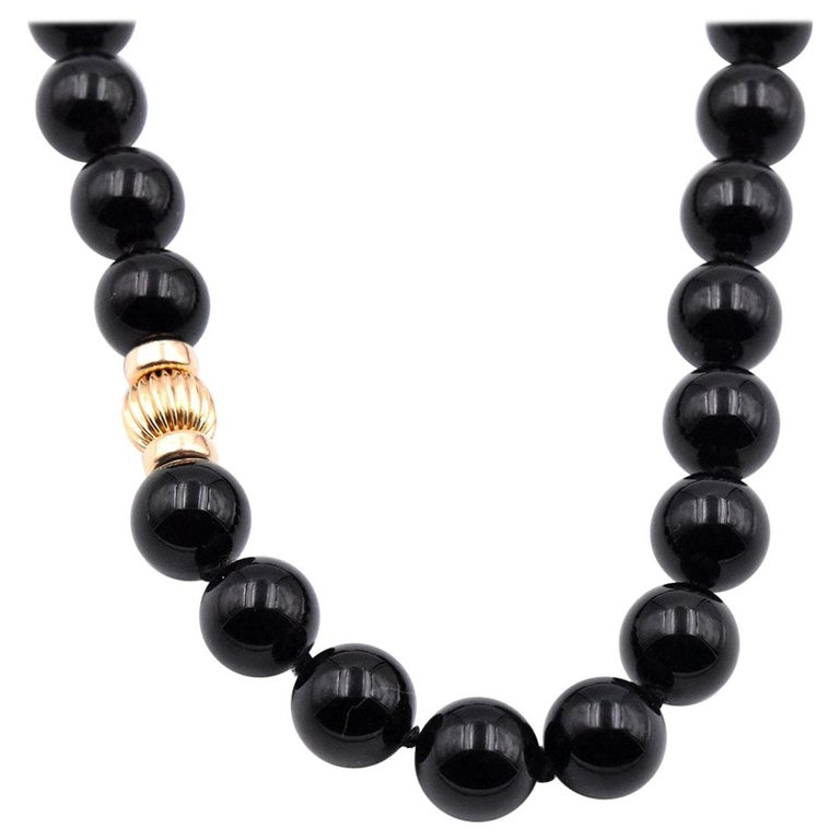 14 Karat Yellow Gold Onyx Bead Necklace For Sale