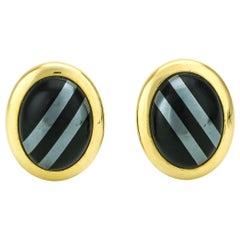 14 Karat Yellow Gold Onyx Hematite Retro Oval Stud Earrings