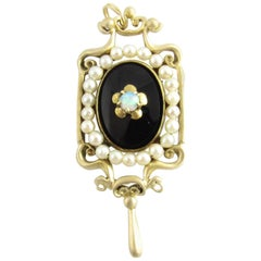 14 Karat Yellow Gold Onyx, Opal and Pearl Brooch or Pendant