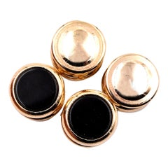 14 Karat Yellow Gold Onyx Shirt Button Stud Set
