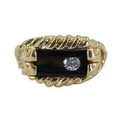 14 Karat Yellow Gold Onyx & Sliding Diamond Ring