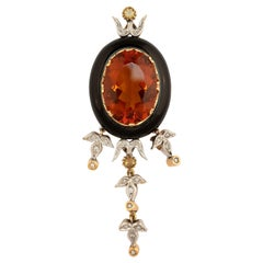 14 Karat Yellow Gold Onyx Topaz and Diamond Pendant
