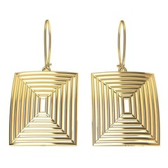 14 Karat Yellow Gold Op Art Domed and Concave Rectangle Dangle Earrings