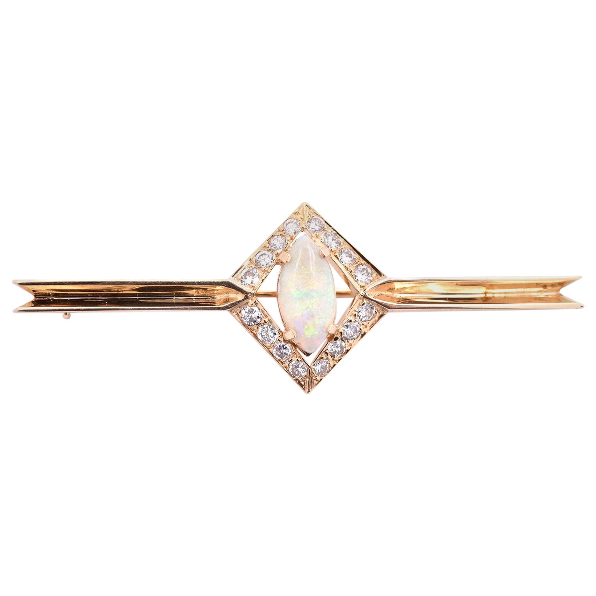 14 Karat Yellow Gold Opal and Diamond Bar Pin
