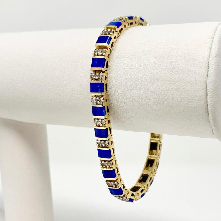 14k Yellow Gold Blue Green Opal and Diamond Ladies Tennis Bracelet 6.5