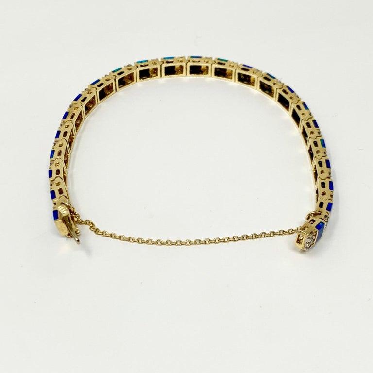 Women's 14 Karat Yellow Gold Opal and Diamond Ladies Tennis Bracelet