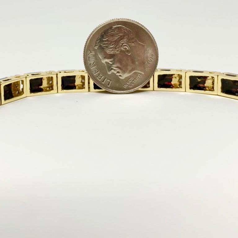 14 Karat Yellow Gold Opal and Diamond Ladies Tennis Bracelet 1
