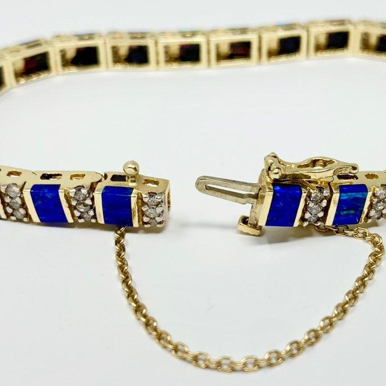 14 Karat Yellow Gold Opal and Diamond Ladies Tennis Bracelet 2