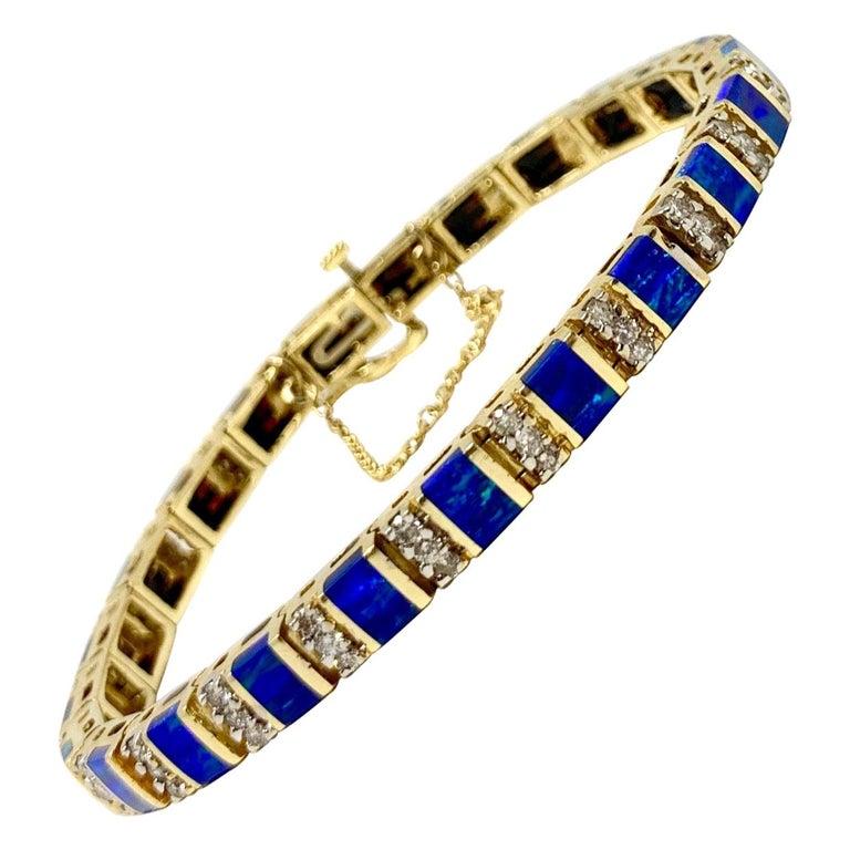 14 Karat Yellow Gold Opal and Diamond Ladies Tennis Bracelet