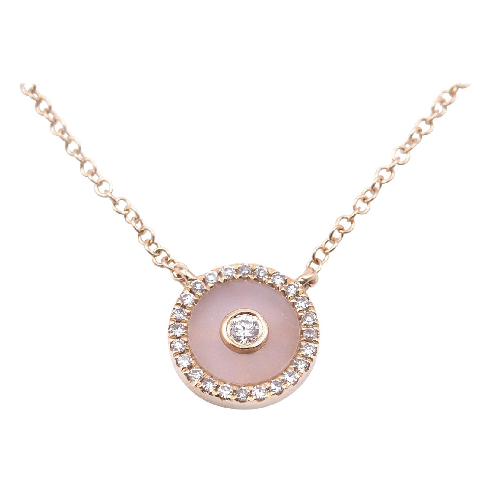 14 Karat Yellow Gold Opal and Diamond Necklace