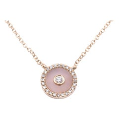 14 Karat Yellow Gold Opal and Diamond Necklace
