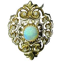 14 Karat Yellow Gold Opal and Diamond Pin-Pendant