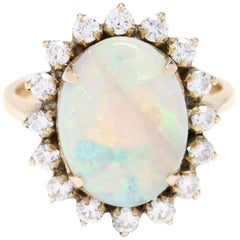 14 Karat Yellow Gold, Opal and Diamond Statement Ring