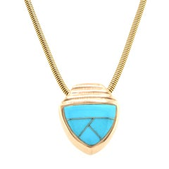 14 Karat Yellow Gold Opal and Turquoise Slide Flip Necklace