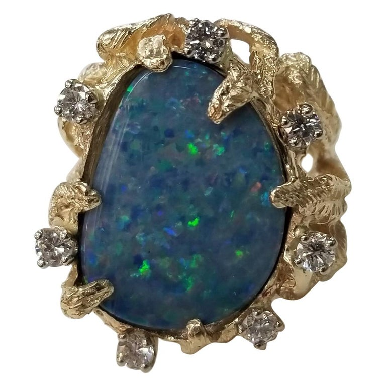 """14 Karat Yellow Gold Opal """"Doublet"""" and Diamond Ring in Leaf Setting For Sale"""