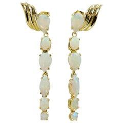 14 Karat Yellow Gold Opal Drop Earrings