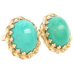 14 Karat Yellow Gold Oval Cabochon Howlite Stud Earrings