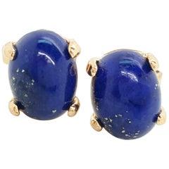 14 Karat Yellow Gold Oval Cabochon Lapis Lazuli Stud Earrings