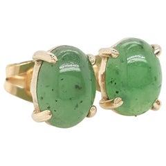 14 Karat Yellow Gold Oval Cabochon Nephrite Jade Stud Earrings
