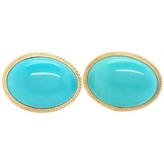 14 Karat Yellow Gold Oval Cabochon Turquoise Stud Earrings