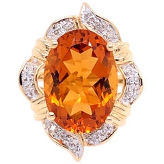 14 Karat Yellow Gold Oval Citrine and Diamond Ring