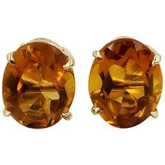 14 Karat Yellow Gold Oval Citrine Stud Earirngs