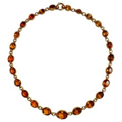 14 Karat Yellow Gold Oval Cut Citrine Riviere Necklace