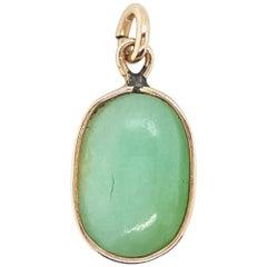 14 Karat Yellow Gold Oval Double Cabochon Jadeite Jade Open Bezel Pendant
