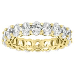 14 Karat Yellow gold Oval Eternity Diamond Ring '4 Carat'