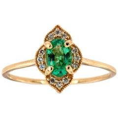 14 Karat Yellow Gold Oval Green Emerald Halo Diamond Ring Center, 2/5 Carat