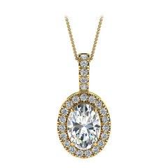 14 Karat Yellow Gold Oval Halo Diamond '3/4 Carat'