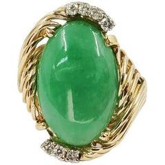 14 Karat Yellow Gold Oval Jadeite Cocktail Ring