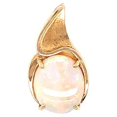 14 Karat Yellow Gold Oval Opal Pendant