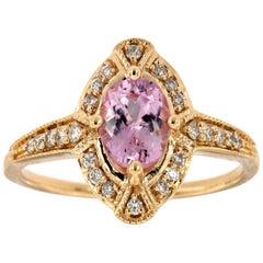 14 Karat Yellow Gold Oval Pink Sapphire Halo Diamond Ring 'Center-1 Carat'