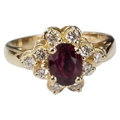 GIA Certified 1.20cts. oval Ruby 14 Karat Yellow Gold Oval Ruby Diamond Ring