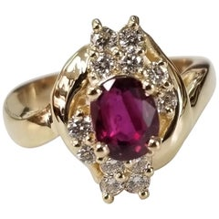 14 Karat Yellow Gold Oval Ruby Diamond Ring